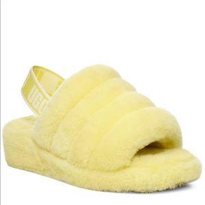 NWT MUGG Fluff Yeah Slides Neon Yellow